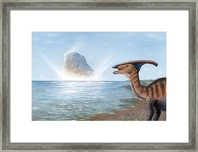 Parasaurolophus Dinosaur And Asteroid Framed Print by Richard Bizley