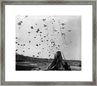 Paratroopers Jump From From C-119s Framed Print by Stocktrek Images