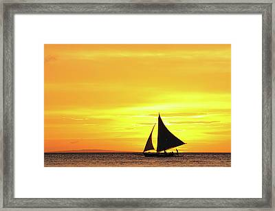 Paraw Sailing At Sunset, Philippines Framed Print by Joyoyo Chen