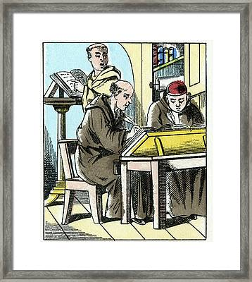 Parchment Use, Medieval Europe Framed Print