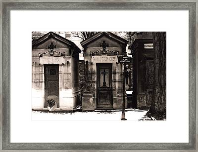 Paris - Pere La Chaise Cemetery Mausoleums Framed Print by Kathy Fornal