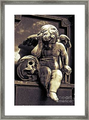Paris Gothic Angel Cemetery Cherub - Cherub And Skull Pere Lachaise Cemetery Framed Print by Kathy Fornal