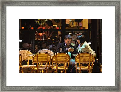 Paris At Night In The Cafe Framed Print by Mary Machare