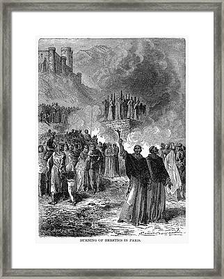 Paris: Burning Of Heretics Framed Print by Granger