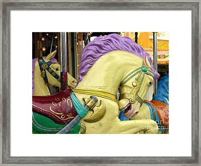 Paris Carousel Horses Framed Print by Anne Gordon