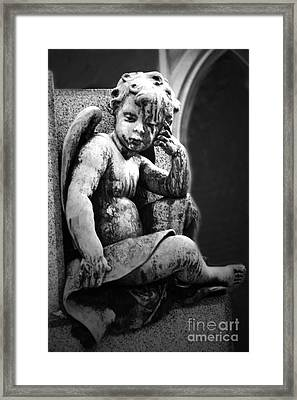 Paris Cemetery - Pere La Chaise - Black And White Cherub Framed Print by Kathy Fornal