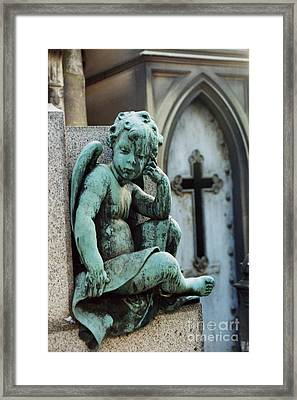 Paris Cemetery - Pere La Chaise - Cherub And Cross Framed Print by Kathy Fornal