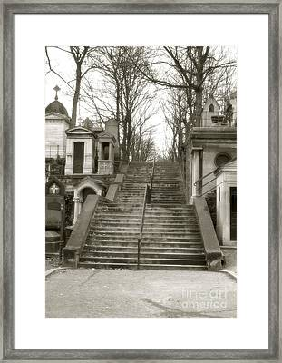 Paris Cemetery Staircase - Pere Lachaise Mausoleum Stairs  Framed Print by Kathy Fornal