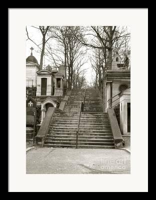 Sepia Paris Art Cemetery Stairs Framed Prints