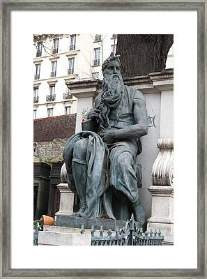 Paris Cemetery Monument Old Man With Beard Framed Print by Kathy Fornal