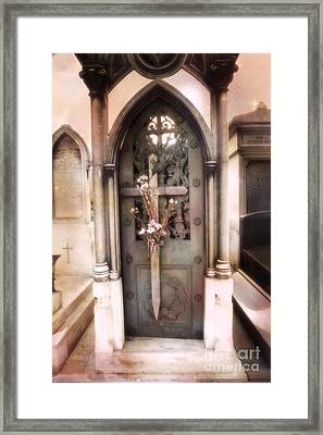 Paris Cemetery Pere La Chaise - Mausoleum Door Framed Print by Kathy Fornal