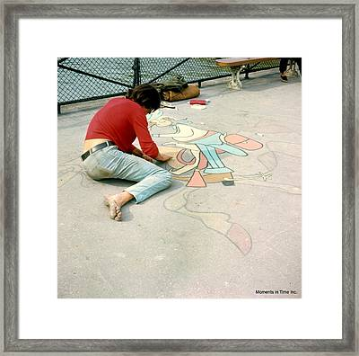 Paris Chalk Art 1964 Framed Print