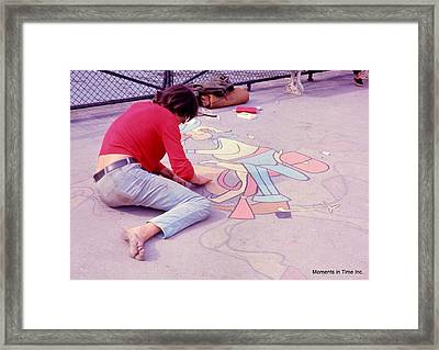 Paris Chalk Artist 1963 Framed Print