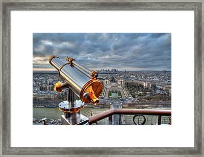 Paris Cityscape Framed Print by Romain Villa Photographe