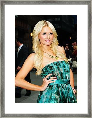 Paris Hilton At Talk Show Appearance Framed Print by Everett