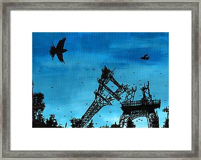 Paris Is Falling Down Framed Print by Jera Sky