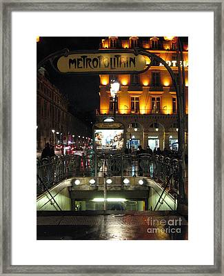Paris Metro Station Night Scene  Framed Print by Kathy Fornal