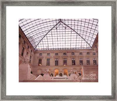 Paris Musee Du Louvre Pyramid Sculptures Framed Print