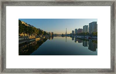 Paris Skyline And Tower Reflecting On Water Framed Print by Cyril Couture @