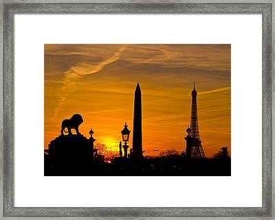 Paris Sunset Framed Print by Kurt Weiss