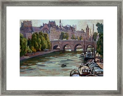 Paris The Seine And Pont Neuf Framed Print