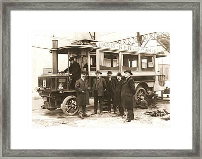 Paris To Berlin Steam Omnibus 1900 Framed Print