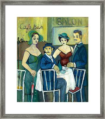 Parisian Cafe Scene In Blue Green And Brown Framed Print