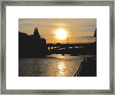 Parisian Sunset Framed Print by Kathy Corday