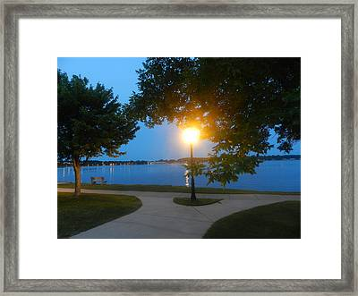 Park At Dusk Framed Print by Dennis Leatherman