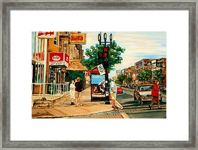 Park Avenue And Bernard Montreal City Scene Framed Print by Carole Spandau