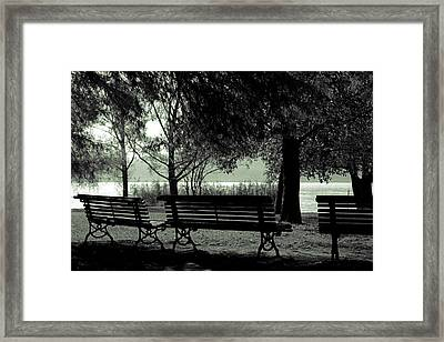 Park Benches In Autumn Framed Print