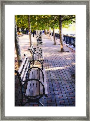 Park Benches In Hoboken Framed Print by George Oze