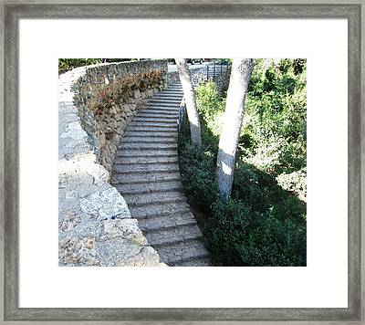Park Guell Curved Steps Stairway In Barcelona Spain Framed Print by John Shiron