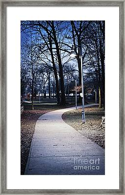 Park Path At Dusk Framed Print