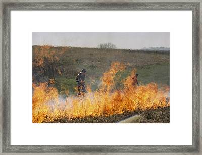 Park Workers Set A Controlled Fire Framed Print by Annie Griffiths