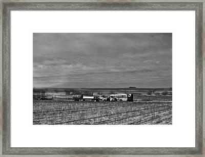 Parking In A Stubbled Field Framed Print by Alan Tonnesen