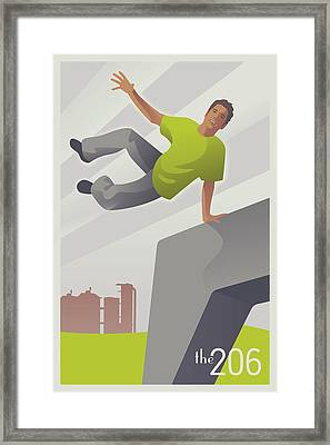 Parkour At Gasworks Park Seattle Framed Print by Mitch Frey