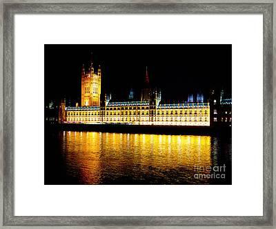 Parliament At Night Framed Print by Thanh Tran
