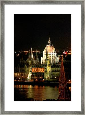 Parliament Building Lit Up At Night, Danube River, Framed Print by Roberto Herrero Garcia