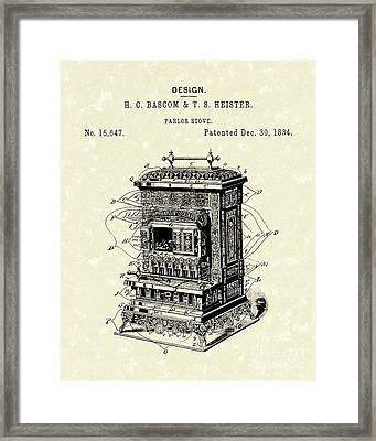 Parlor Stove Bascom And Heister 1884 Patent Art Framed Print by Prior Art Design