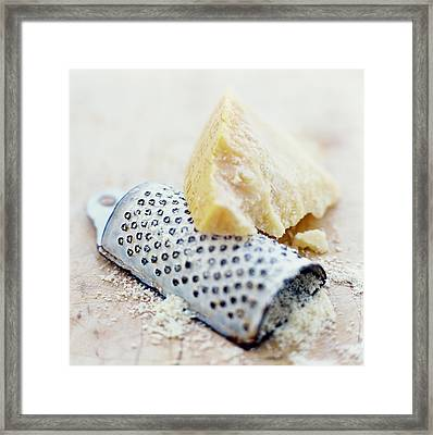 Parmesan Cheese And Grater Framed Print by David Munns