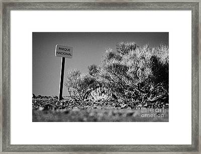 parque nacional national park sign el teide Tenerife Canary Islands Spain Framed Print by Joe Fox