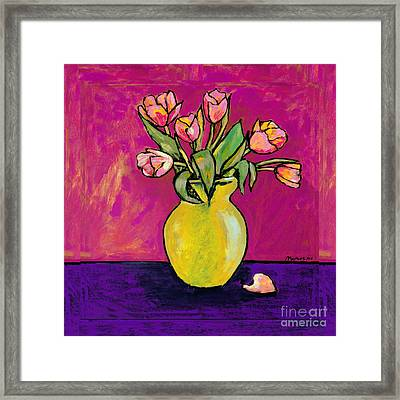 Parrot Tulips In A Yellow Vase Framed Print