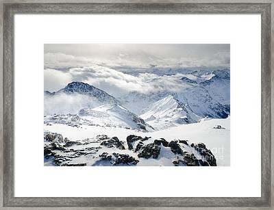 Parsenn Weissfluhgipfel View From The Summit Across The Swiss Alps Framed Print by Andy Smy