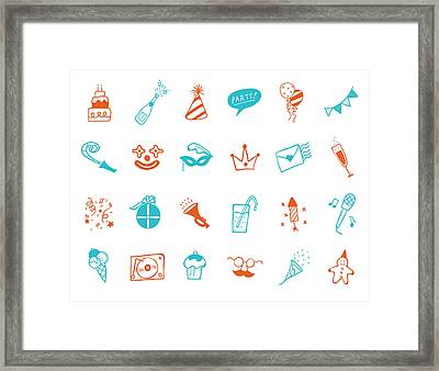 Party Icon Set Framed Print by Eastnine Inc.