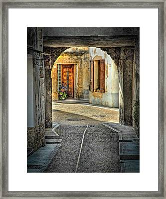 Framed Print featuring the photograph Passageway And Arch In Provence by Dave Mills