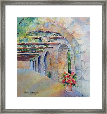 Passageway Of History At The Alamo Framed Print by Cynthia Roudebush
