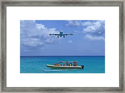 Passenger Airplane Overflies Boat. Framed Print by Fernando Barozza