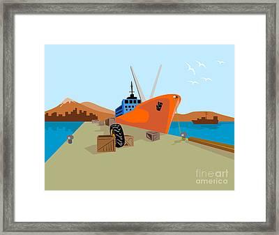 Passenger Ship Ferry Boat Anchor Retro Framed Print by Aloysius Patrimonio