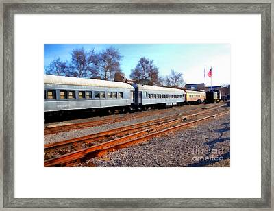 Passenger Trains At The Old Sacramento Train Depot . 7d11623 Framed Print by Wingsdomain Art and Photography